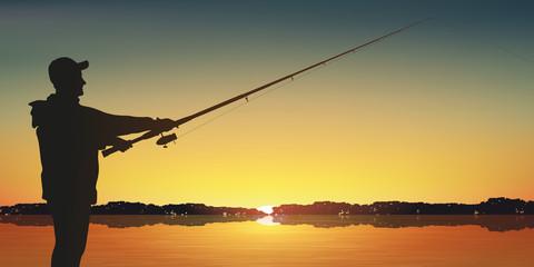 Pêche à la ligne - pêcheur - pêche - lac - canne à pêche - poisson - coucher de soleil