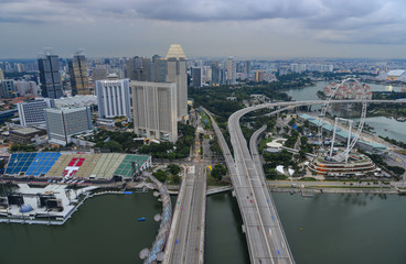 Aerial view of Marina Bay in Singapore