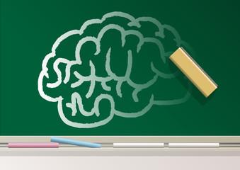 Alzheimer - cerveau - effacer - symbole - neurone - médecine - maladie