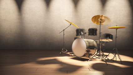 Drum set at the concert light and modern loft wall style background