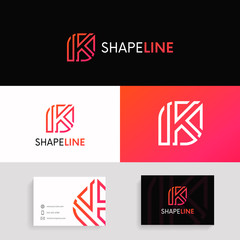 K letter linear logo sign with brand business card vector design.