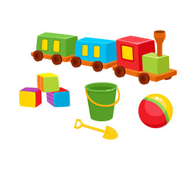 First baby toys – wooden train, building blocks, ball, bucket and shovel, cartoon vector illustration isolated on white background. Kid items - train, block, ball, bucket for little kids, children