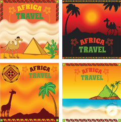 Africa Travel Web Banners Set, vector square banners pack