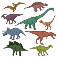 Prehistoric wild dinosaur creatures collection