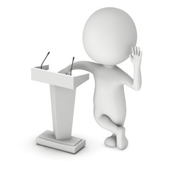 3d Speaker Podium and small man. Tribune Rostrum Stand with Microphones. 3d render isolated on white background. Debate, press conference concept