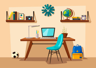 Creative interior. Room of child. Cartoon vector illustration