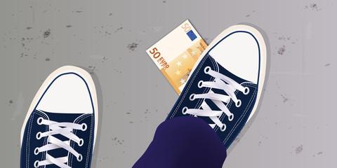 chance - billet de banque - argent - chaussure - trouver - vue de dessus