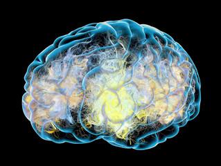 Cervello, sinapsi, neuroni, malattie degenerative, Parkinson, Alzheimer's, 3d rendering. Connessioni sinapsi nel cervello
