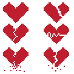A broken heart is a set of six pixel icons symbolizing a broken love or life. Pictures can be used to create illustrations, prints, or for the design of computer and console games