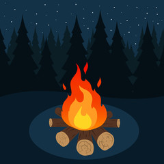 Camp fire in forest. Vector.