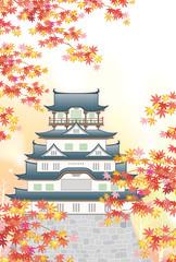 日本の城 秋の風景