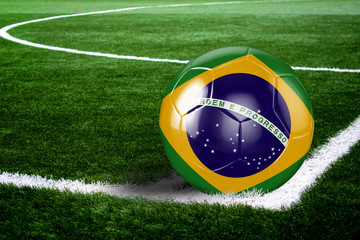 Brazil Soccer Ball on Corner of Field at Night