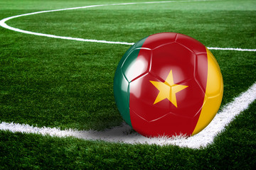 Cameroon Soccer Ball on Corner of Field at Night