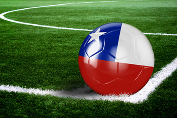 Chile Soccer Ball on Corner of Field at Night