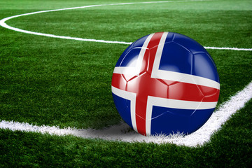 Iceland Soccer Ball on Corner of Field at Night