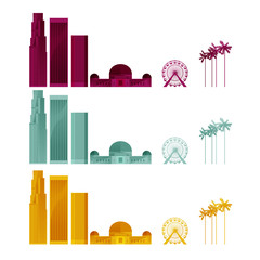 LOS ANGELES. COLORED ICONIC SKYLINE ELEMENTS.