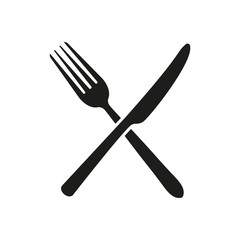 Knife, fork. Sign. Vector.