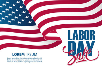 Labor Day Sale special offer banner template with waving american national flag. Holiday commerce background for business, promotion and advertising. Vector illustration.