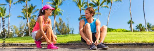 Runners Couple Tying Running Shoes To Run Banner Runner