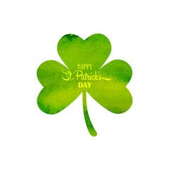 Green watercolor trifolium clover. Irish holiday Saint Patrick's Day