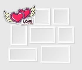 Realistic photo frames for image and photo on white background. Love, romantic and friendship.