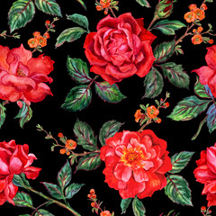 Seamless watercolor floral pattern of red roses on a black background.