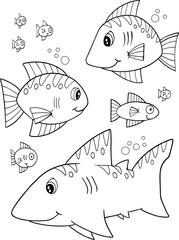 Cute Happy Fish Vector Illustration Art