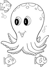 Cute Octopus Vector Illustration Art