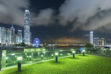Fototapete - Skyline of Hong Kong city at night