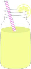 Mason Jar with Lemonade and a Straw