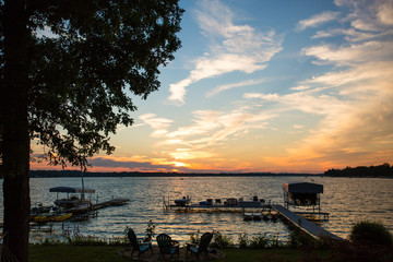 View over Gull Lake with jetty at sunset