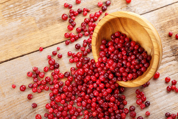 Cranberries in a plate and scattered