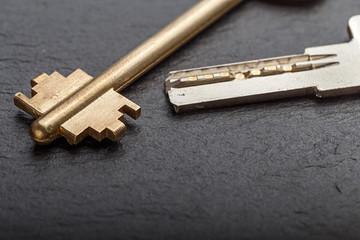 Keys on a black background