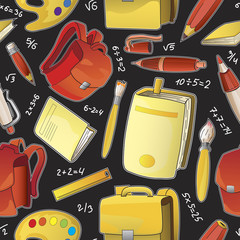 Supplies for school, seamless pattern.