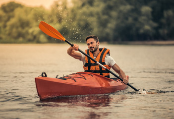 Man and kayak