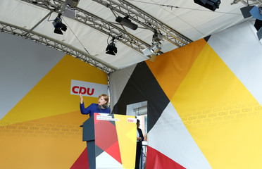 German Chancellor Merkel, top candidate of the Christian Democratic Union Party (CDU) attends an election rally for the upcoming federal elections in Gelnhausen