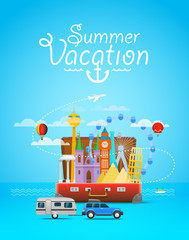 Summer vacation. Vacation travelling composition with the open bag