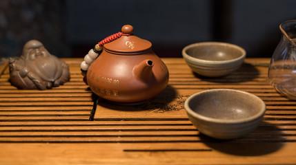 Chinese tea ceremony. Brewing tea