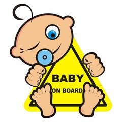 Baby on board, vector icon, banner