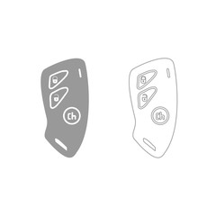 Car key and of the alarm system grey set icon .