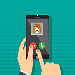 Smart phone on hand with incoming call from girl, vector illustration.