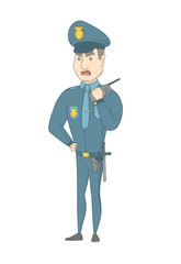 Caucasian security guard talking on walkie-talkie radio. Young security guard holding walkie-talkie radio. Security guard using a radio. Vector sketch cartoon illustration isolated on white background