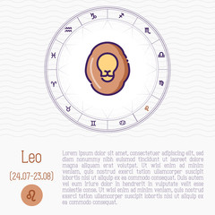 Leo in zodiac wheel, horoscope chart with place for text. Thin line vector illustration.
