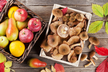 Autumn food. Mushrooms and fruits