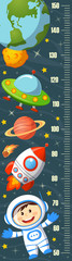Stadiometer. Height measure. Meter wall with astronaut, spaceship, saturn, UFO, Earth, moon and stars