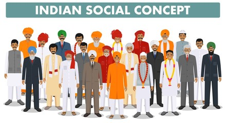 Family and social concept. Group young and senior indian people standing together in different traditional clothes on white background in flat style. Vector illustration.