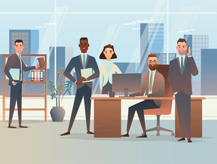 team of professionals of business attorneys will raise your business. Business concept vector illustration. Office work team