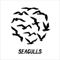 Seagulls - grunge round pattern with hand-drawn birds with text