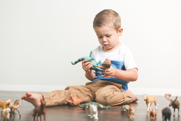 Toddler playing animals versus dinosaurs in bedroom