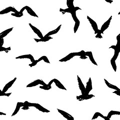 Seagulls - grunge seamless pattern with hand-drawn birds